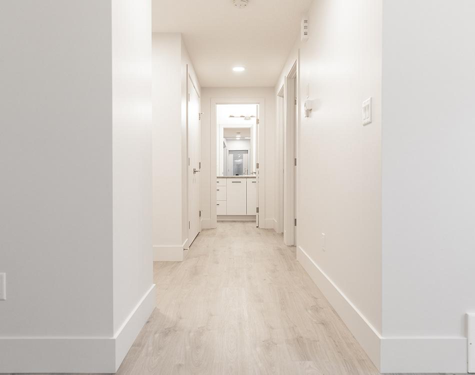 brightly lit hallway garden suite