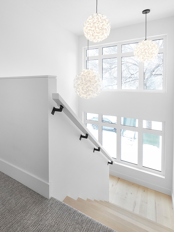 bright staircase and lighting