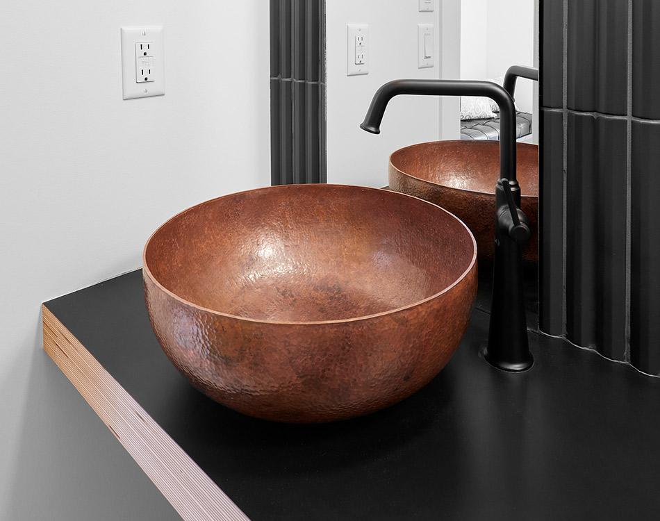 beaten copper sink