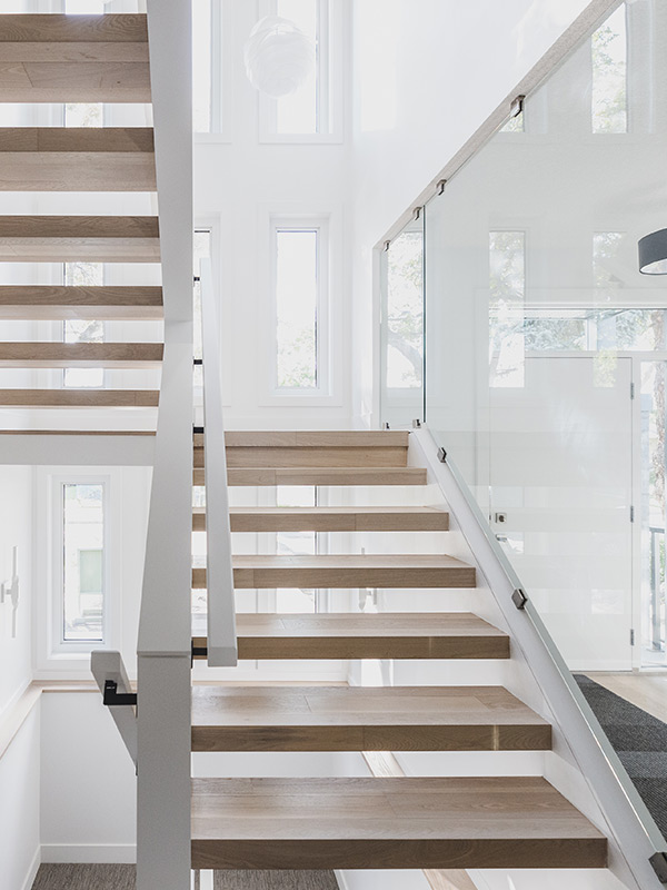 wooden open stairs