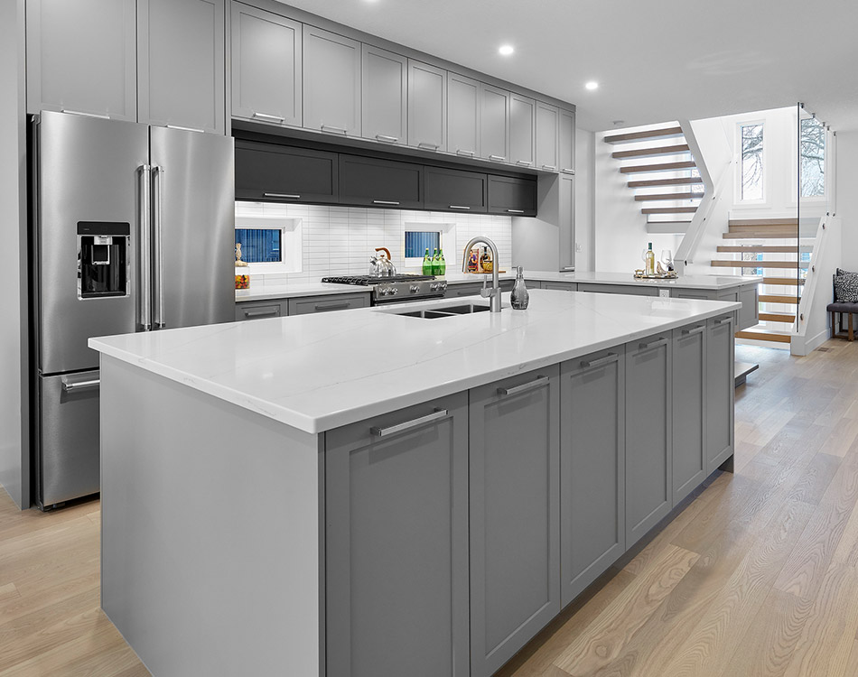 gray and black kitchen