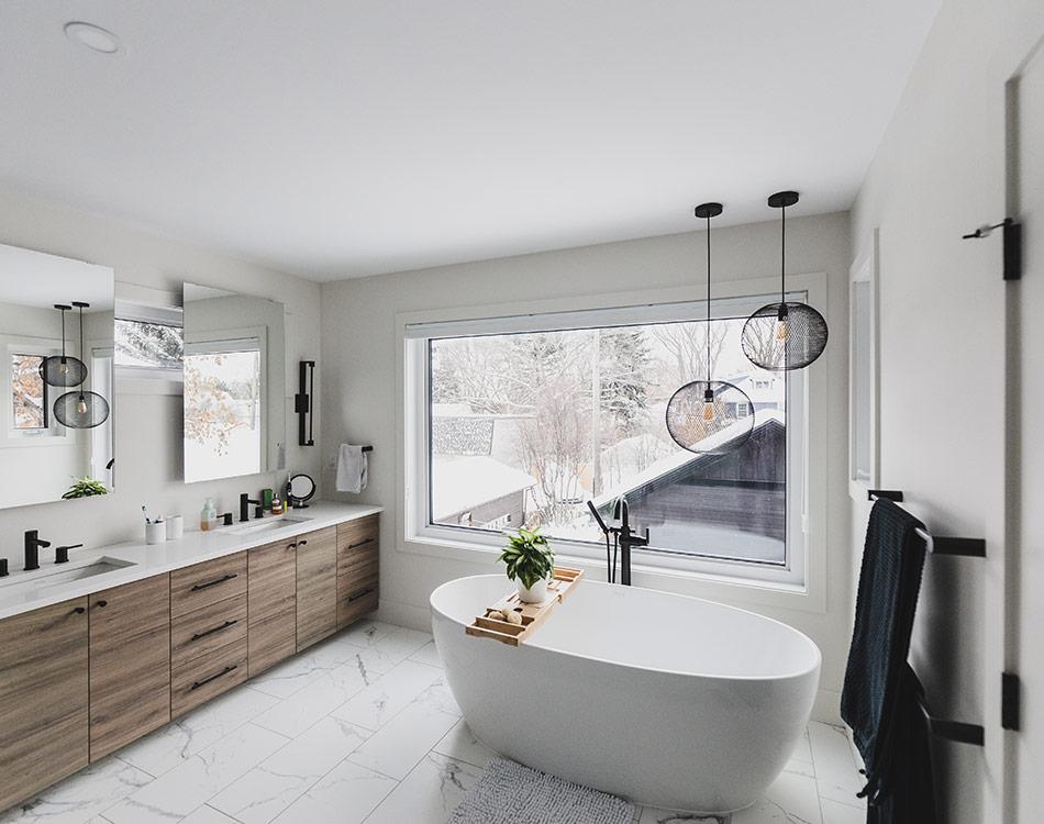 master bathroom with large tub