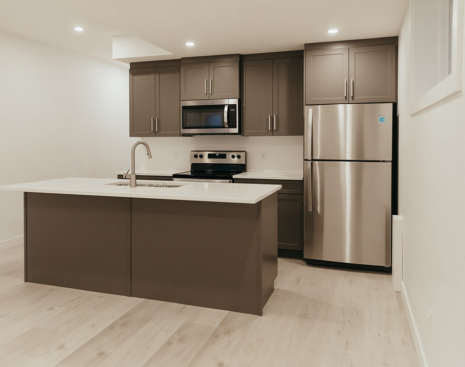 Legal suite basement kitchen